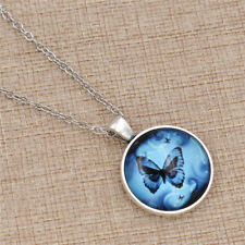 Butterfly Necklace Glass Cabochon Pendants Alloy Fashion Jewellry Chain Charm