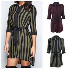 Collar Long Sleeve Mini Striped Dresses for Women