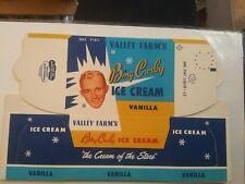 Bing Crosby Ice Cream 1 Pint Container Unused 1953