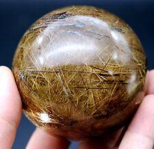 71mm 508g Rare Natural Clear Hair Rutilated Quartz Crystal Sphere Ball Healing