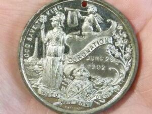 1902 EDWARD VII Coronation Fattorini WM Bright Finish Medal 38mm holed #T2317