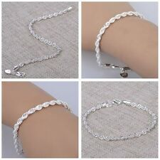 Women Charm Silver Tone Stainless Steel Twisted Rope Chain Bangle Bracelet Gift