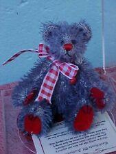 "World of Miniature Bears 4"" Plush Bear Purple & Red Collectible Miniature Bear"