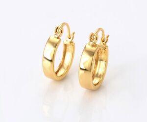 24ct/9ct Yellow Gold Filled Women's Plain Simple Snap-Closure Hoop Earrings