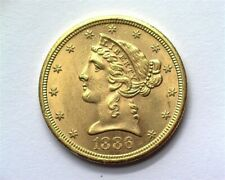 1886-S LIBERTY HEAD $5 GOLD NEAR GEM UNCIRCULATED+ SCARCE THIS NICE!!