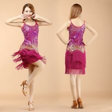 New Sexy Lady Copper skirt Sequins Salsa Samba Costume Tassel Dress Latin Dance