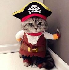 Pet Small Cat Dog Pirate Costume Outfit Jumpsuit Cloth Halloween XS S ♫
