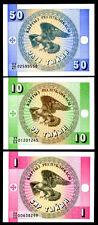 KYRGYZSTAN 3 pcs UNC  ( 1, 10, 50 tiyin)