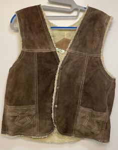 Vintage Gilet Mens Medium  Distressed Leather Brown Marked
