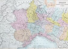 1887 ANTIQUE MAP ITALY PIEDMONT LIGURIA LOMBARDY EMILIA PLACENZA TURIN PINEROLO