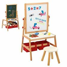 2 in 1 Wooden Art Easel & Desk Stool with 1 Paper Roll For Kids Drawing Writing
