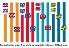Race Car Stripes and Numbers (B) 1/32nd Scale Slot Car Waterslide Decals