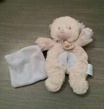Doudou Baby nat ours gris et bleu mouchoir croix
