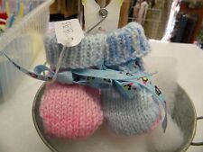 d04f5a00d41af abc broons chausson bébé bleu rose chiné modele unique neuf layette tricot  m13