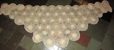 Vintage Sally Gee Off White & Gold Pocketed Crocheted Wool Shawl 1960s