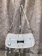 RARE Vintage Christian Dior Street Chic John Galliano Borsa a tracolla in pelle bianca