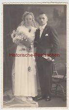 (F5100) Orig. Foto Hochzeitspaar, Seidenberg O.L. 17.12.1938