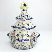 "Vintage Ceramic Christmas Tree Unikat Polish Pottery 8"" Light Up Tea Light"