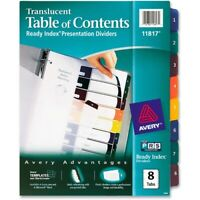 Avery Ready Index Table/Contents Dividers, Eight-Tab, Letter, Assorted, 8/Set