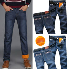 Men's Winter Thermal Jeans Fleeced Lined Denim Long Pants Casual Warm Trousers
