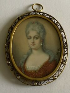 Beautiful Fine Victorian Hand Painted Portrait Miniature 9ct Gold & Seed Pearls