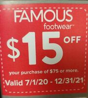 Famous Footwear Coupon $15 Off $75 Exp 12-31-21 In Store or Outlet