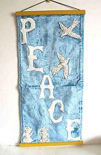 "Vintage PEACE Christmas Wall Hanging Blue Velvet Applique Doves 24"" FREE SH"