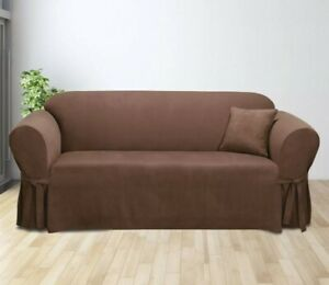 """Soft Suede Sofa Slipcover Sure Fit Chocolate Brown for 74""""-96"""", Box Cushion"""