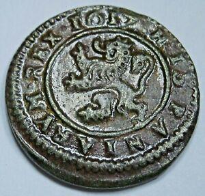 1617 Spanish Copper 4 Maravedis Antique Pirate Treasure Cob Colonial Money Coin