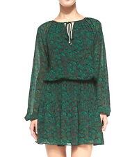 NWT $150 Michael Kors Nila Feather Print Easy Chiffon Dress Gooseberry L