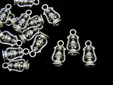 10 Pcs - 20mm Tibetan Silver 3d Vintage Oil Lamp Charms Lantern Camping UK C85
