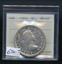 1953 SF Canada Silver Dollar ICCS Certified MS65   DCB77