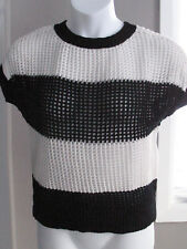 Ann Taylor Loft Women's Sweater Open Crochet Top Short Sleeve Black White Size L