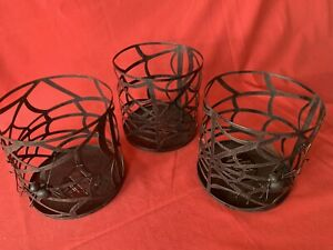 3 POTTERY BARN Hurricane Candle Plant Holders Spider Web Halloween Table Decor