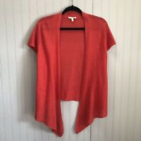 EILEEN FISHER Petite LINEN LOOSE KNIT Open Front CARDIGAN Sz PL Red