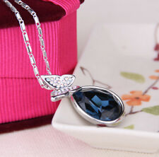 New Style Jewelry blue Crystal Rhinestone Butterfly Water Drop Pendant Necklace