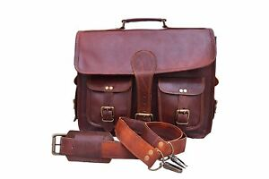 Leather Vintage Messenger Shoulder Men Satchel S Laptop Business Briefcase Bag