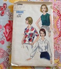 "Vogue 60s  Dressmaking Sewing Pattern Blouse Sz 34"""
