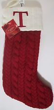 "St. Nicholas Square Monogrammed Red Cable Knit Christmas Stocking w/ Letter ""T"""