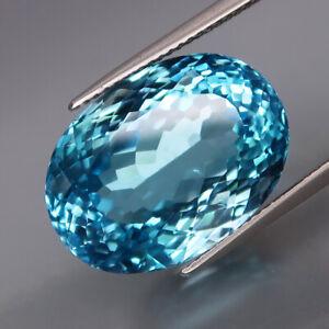 27.91Ct.Ravishing Color GIANT Swiss Blue Topaz Brazil Full Sparkling&Eye Clean!