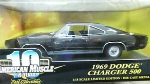 American Muscle ERTL 1969 Dodge Charger 500 Black 1/18 Limited Edition MIB