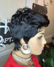 Pixie Cut Short Wave Real Remy Human Hair Lace Wig Machine Made Wigs for Women