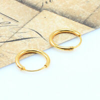 18K Gold Filled Men/Women Hoop Sleeper Earrings, 12 mm Hinged-Wholesale Price