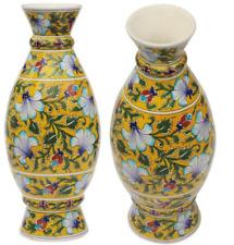"""13"""" Yellow Handmade Ceramic Flower Vase Home Decor Vases Jaipur Blue Pottery"""