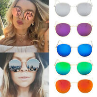 Women Sunglasses Rose Gold Metal Frame Circle Glasses Mirrored Round Sunglasses