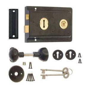 Black Rim Sash Lock 150 x 102mm with Handles Door Sashlock Knobset with 2 Keys