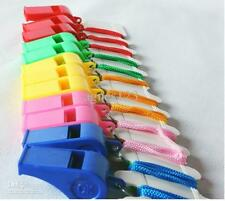Lot of 100 Plastic Whistle & Lanyard Emergency Survival ,Fast free ship