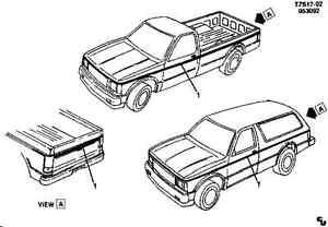 85-94 Chevrolet GMC S10 S15 Jimmy Blazer Bravada Stripe Kit Red NOS 15591209