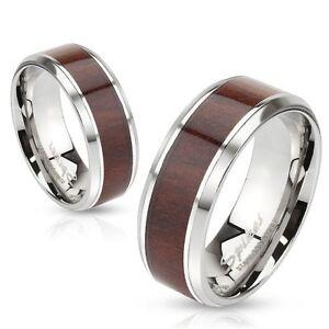 Stainless Steel Wedding Engagement Bridal Band Dark Wood Inlay Beveled Edge Ring