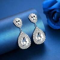 Luxury Tear Drop Crystal Earrings Bridal Long Drop Earrings Wedding Jewelry Gift